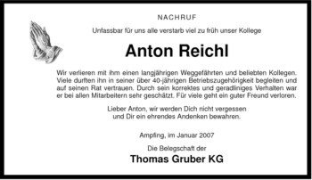 Traueranzeige von Anton Reichl von OBERBAYRISCHES VOLKSBLATT