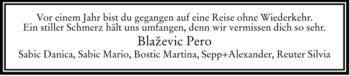 Traueranzeige von Pero Blaszevic von OBERBAYRISCHES VOLKSBLATT