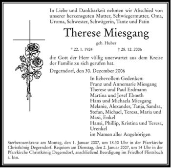 Traueranzeige von Therese Miesgang von OBERBAYRISCHES VOLKSBLATT