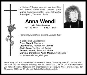 Traueranzeige von Anna Wendl von OBERBAYRISCHES VOLKSBLATT