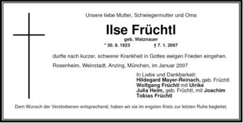 Traueranzeige von Ilse Früchtl von OBERBAYRISCHES VOLKSBLATT