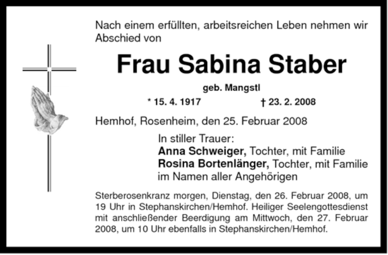 Traueranzeige für Sabina Staber vom 25.02.2008 aus OBERBAYRISCHES VOLKSBLATT