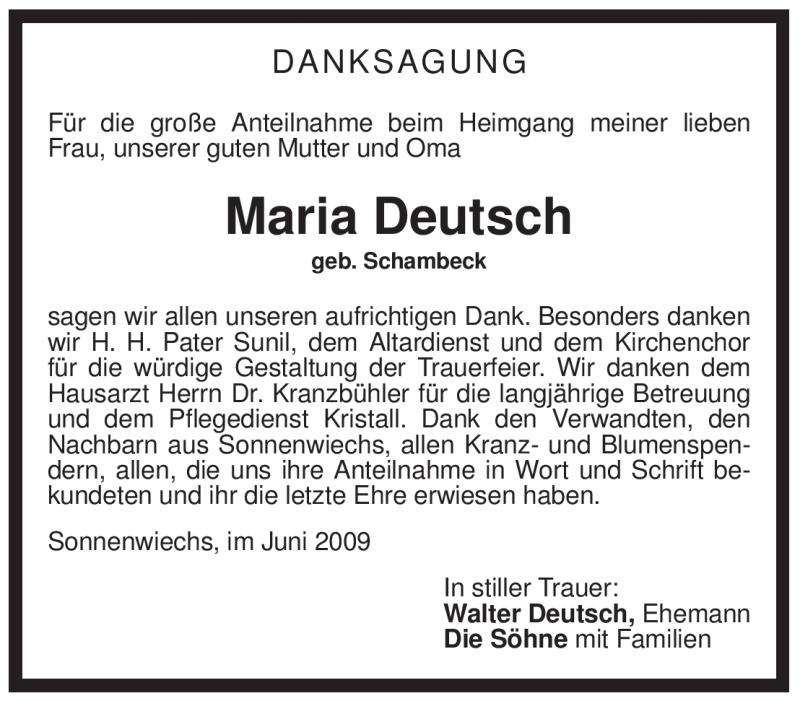 Traueranzeige für Maria Deutsch vom 25.06.2009 aus OBERBAYRISCHES VOLKSBLATT