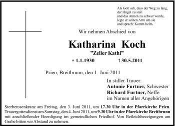 Traueranzeige für Katharina Koch vom 01.06.2011 aus OBERBAYRISCHES VOLKSBLATT