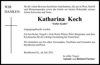 Traueranzeige für Katharina Koch vom 08.07.2011 aus OBERBAYRISCHES VOLKSBLATT