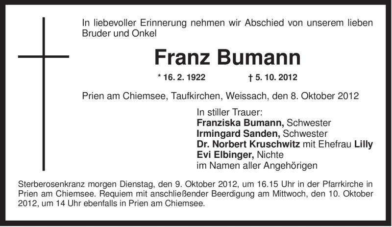 Anzeige von  Franz Bumann