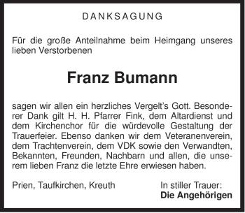 Traueranzeige für Franz Bumann vom 15.10.2012 aus ovb