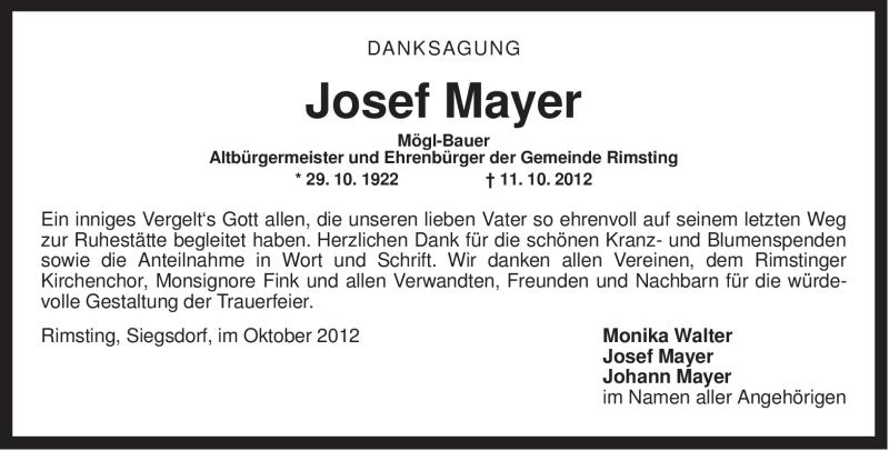 Traueranzeige für Josef Mayer vom 19.10.2012 aus ovb