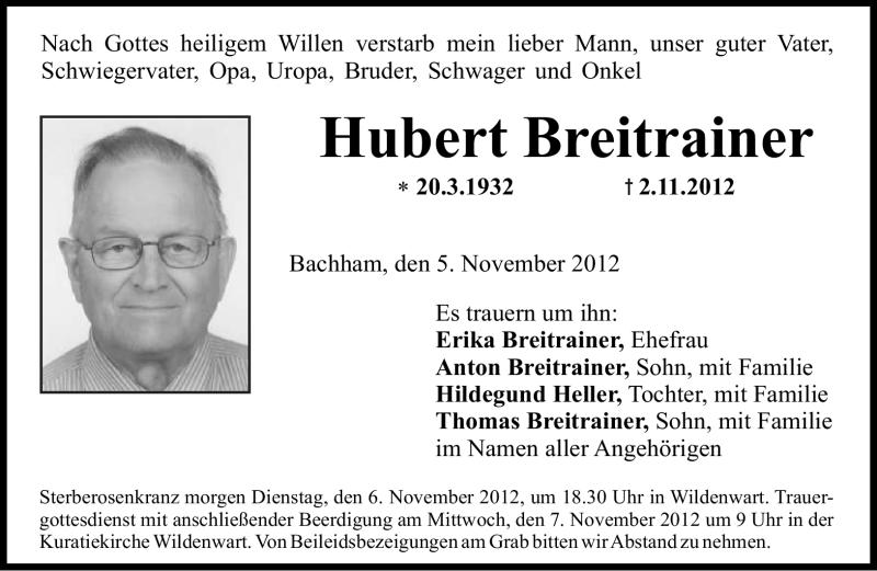 Anzeige von  Hubert Breitrainer
