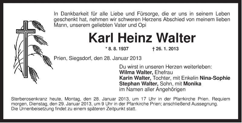 Traueranzeige für Karl Heinz Walter vom 28.01.2013 aus ovb