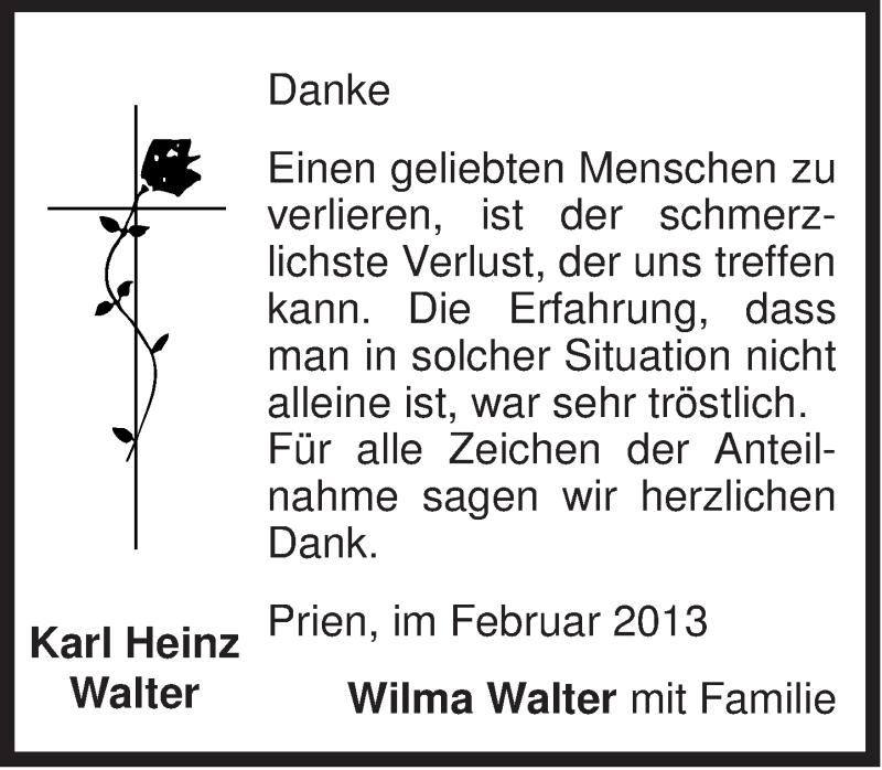 Traueranzeige für Karl Heinz Walter vom 01.02.2013 aus ovb