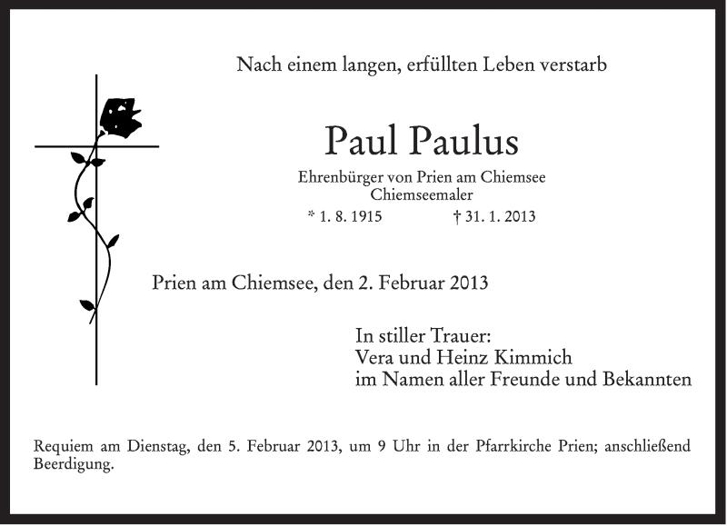Traueranzeige für Paul Paulus vom 02.02.2013 aus ovb