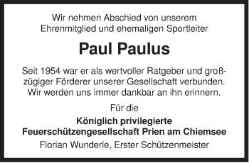 Traueranzeige für Paul Paulus vom 05.02.2013 aus ovb