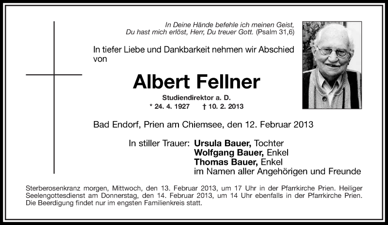 Traueranzeige für Albert Fellner vom 12.02.2013 aus ovb