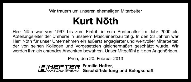 Anzeige von  Kurt Nöth