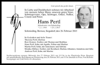 Traueranzeige für Hans Pertl vom 26.02.2013 aus ovb