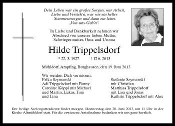 Traueranzeige von Hilde Trippelsdorf von ovb