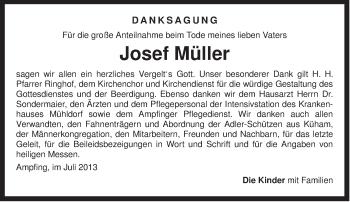 Traueranzeige von Josef Müller von ovb