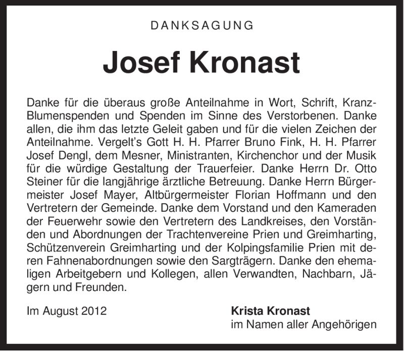 Traueranzeige für Josef Kronast vom 24.08.2012 aus OBERBAYRISCHES VOLKSBLATT