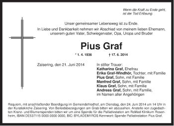Traueranzeige von Pius Graf von ovb