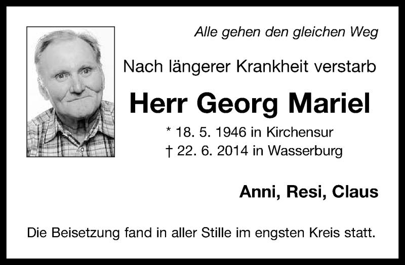Traueranzeige für Georg Mariel vom 05.07.2014 aus ovb