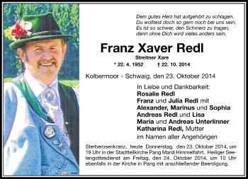 Zur Gedenkseite von Franz Xaver