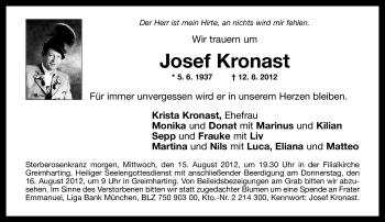 Traueranzeige für Josef Kronast vom 14.08.2012 aus OBERBAYRISCHES VOLKSBLATT