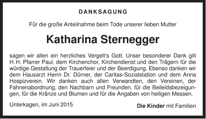 Traueranzeige für Katharina Sternegger vom 26.06.2015 aus ovb