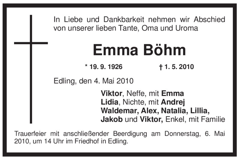 Traueranzeige für Emma Böhm vom 04.05.2010 aus OBERBAYRISCHES VOLKSBLATT