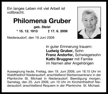 Traueranzeige von Philomena Gruber von OBERBAYRISCHES VOLKSBLATT