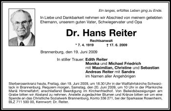 Traueranzeige von Hans Reiter von OBERBAYRISCHES VOLKSBLATT