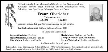 Traueranzeige für Franz Oberloher vom 07.06.2011 aus OBERBAYRISCHES VOLKSBLATT