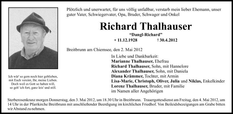 Anzeige von  Richard Thalhauser
