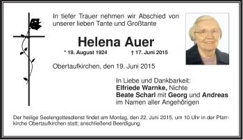 Traueranzeige von Helena Auer von ovb