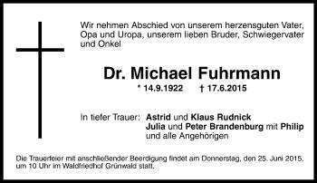 Traueranzeige von Michael Fuhrmann von ovb