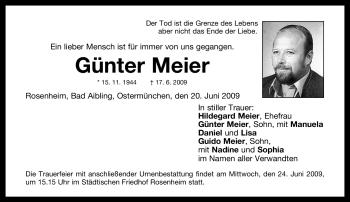 Traueranzeige von Günter Meier von OBERBAYRISCHES VOLKSBLATT
