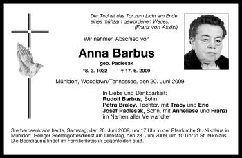 Traueranzeige von Anna Barbus von OBERBAYRISCHES VOLKSBLATT