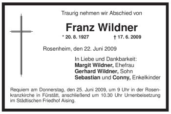 Traueranzeige von Franz Wildner von OBERBAYRISCHES VOLKSBLATT