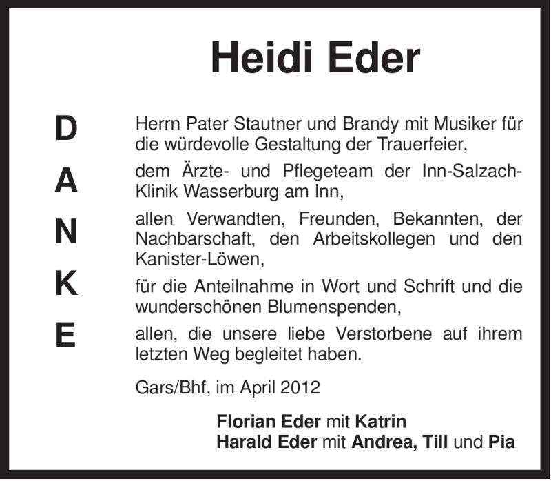 Traueranzeige für Heidi Eder vom 19.04.2012 aus OBERBAYRISCHES VOLKSBLATT