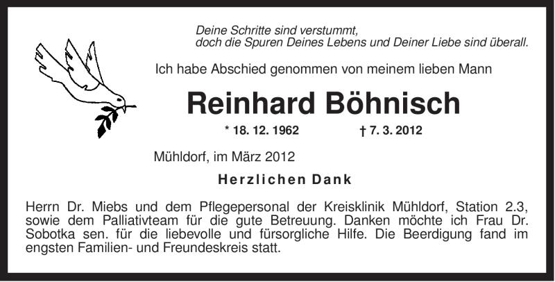 Traueranzeige für Reinhard Böhnisch vom 14.03.2012 aus OBERBAYRISCHES VOLKSBLATT
