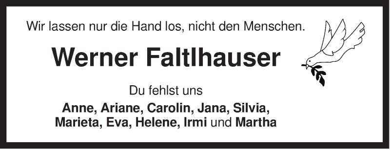 Traueranzeige für Werner Faltlhauser vom 14.01.2016 aus ovb