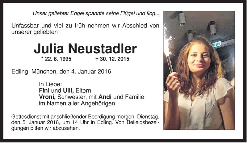 Traueranzeige für Julia Neustadler vom 04.01.2016 aus ovb