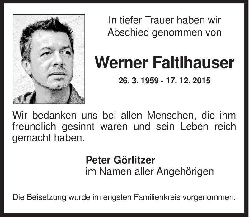 Traueranzeige für Werner Faltlhauser vom 09.01.2016 aus ovb