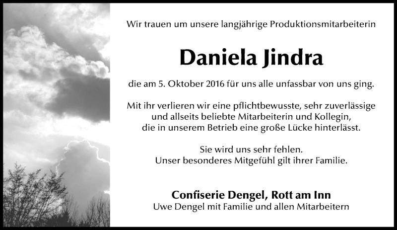 Traueranzeige für Daniela Jindra vom 13.10.2016 aus ovb