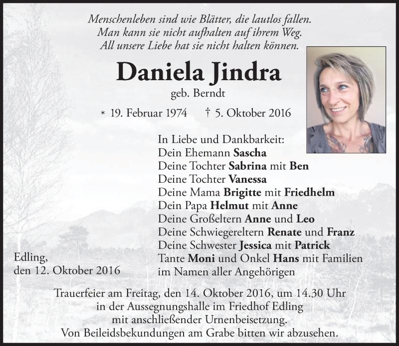 Traueranzeige für Daniela Jindra vom 12.10.2016 aus ovb
