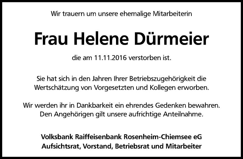 Traueranzeige für Helene Dürmeier vom 16.11.2016 aus ovb