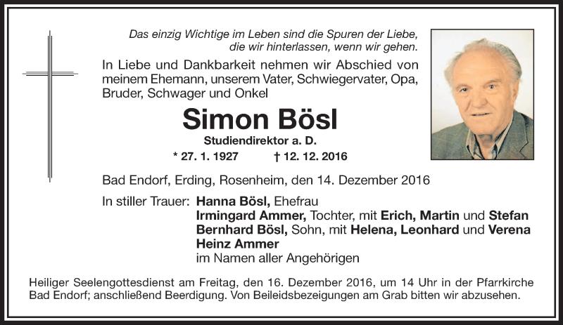 Traueranzeige für Simon Bösl vom 14.12.2016 aus ovb