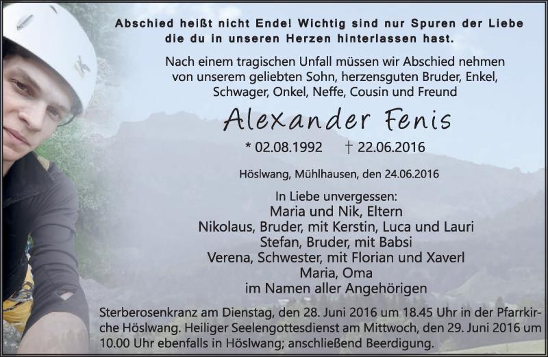 Traueranzeige für Alexander Fenis vom 25.06.2016 aus ovb