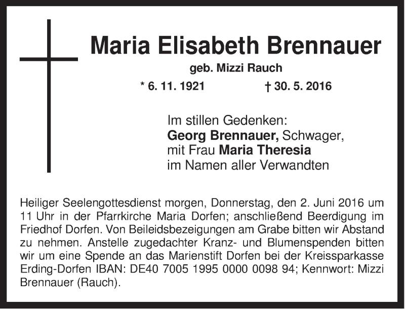 Traueranzeige für Maria Elisabeth Brennauer vom 01.06.2016 aus ovb