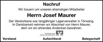 Traueranzeige von Josef Maurer von ovb